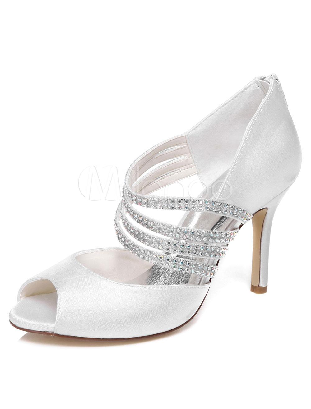 Ivory Rhinestones Satin Peep Toe Evening&Bridal Sandals for Women