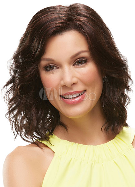 Brown Lob Curly Medium Wig For Woman