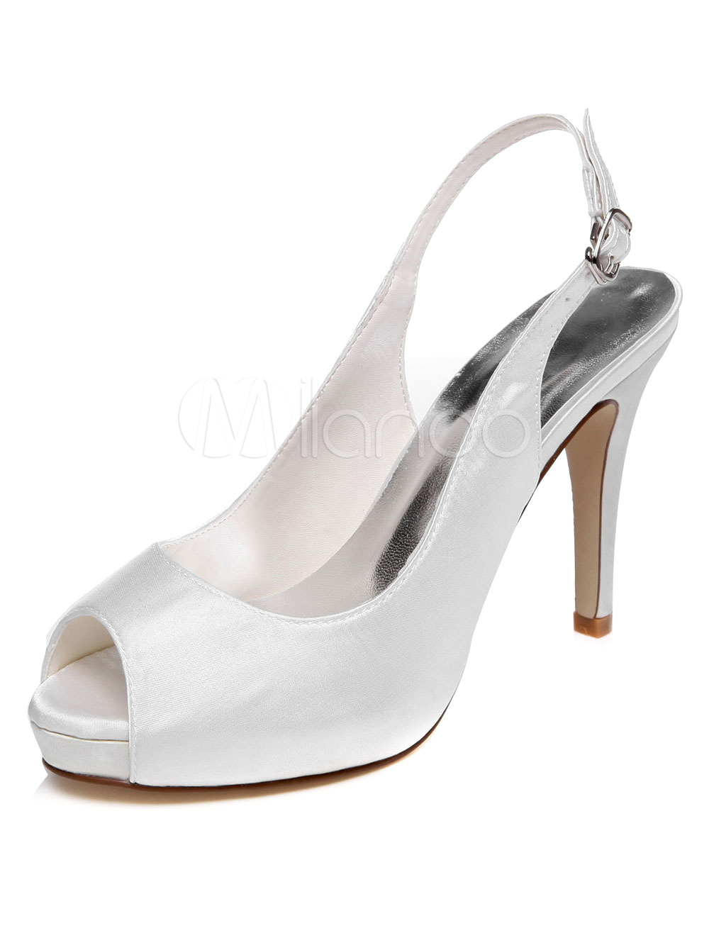 Buy White Platform Satin Peep Toe Evening&Bridal Sandals for $54.39 in Milanoo store