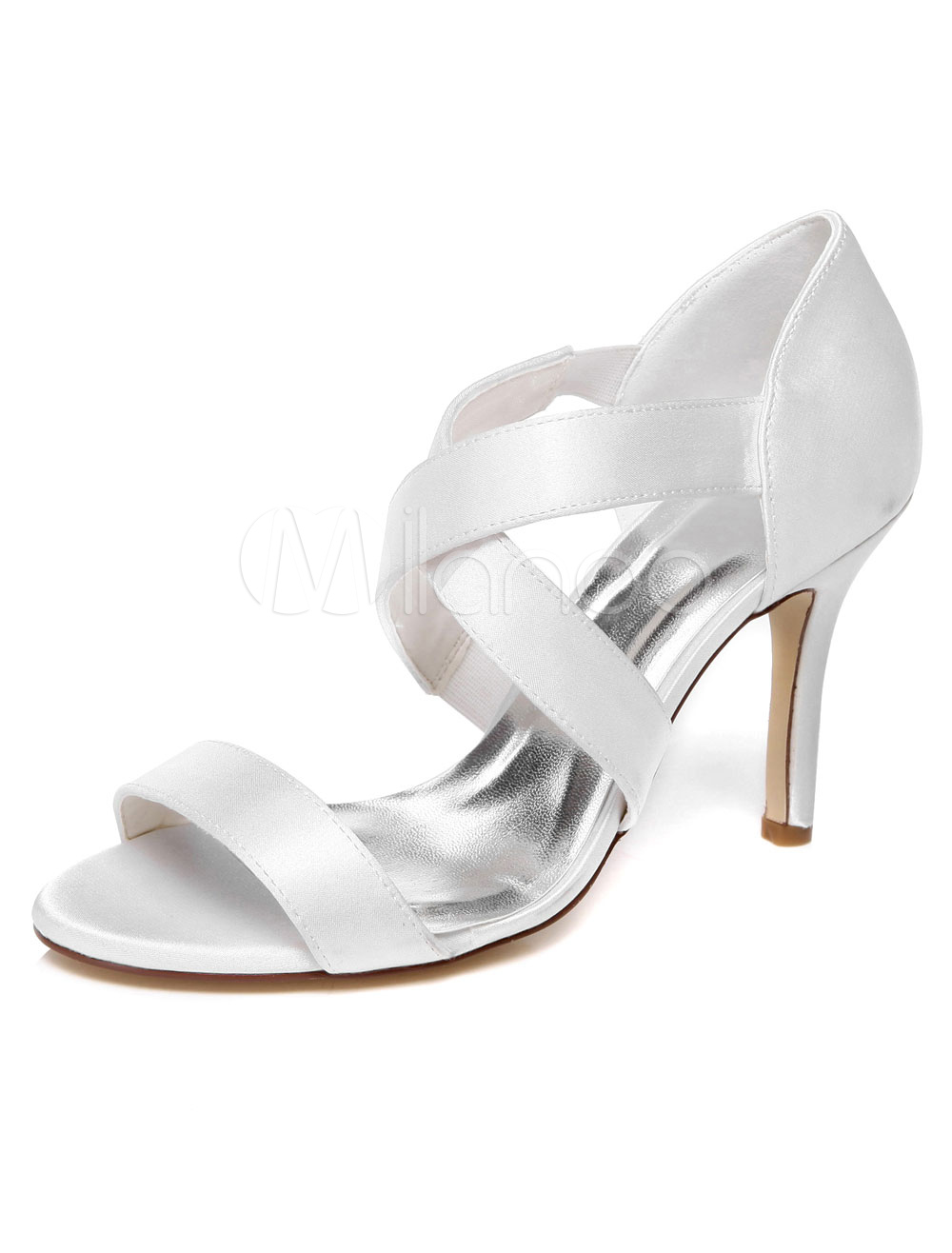White Satin Open Toe Evening&Bridal Sandals for Women