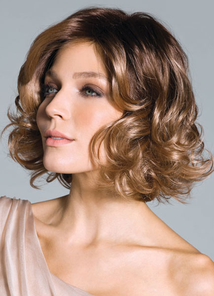 Light Gold Bobs Curly Women's Short Wig