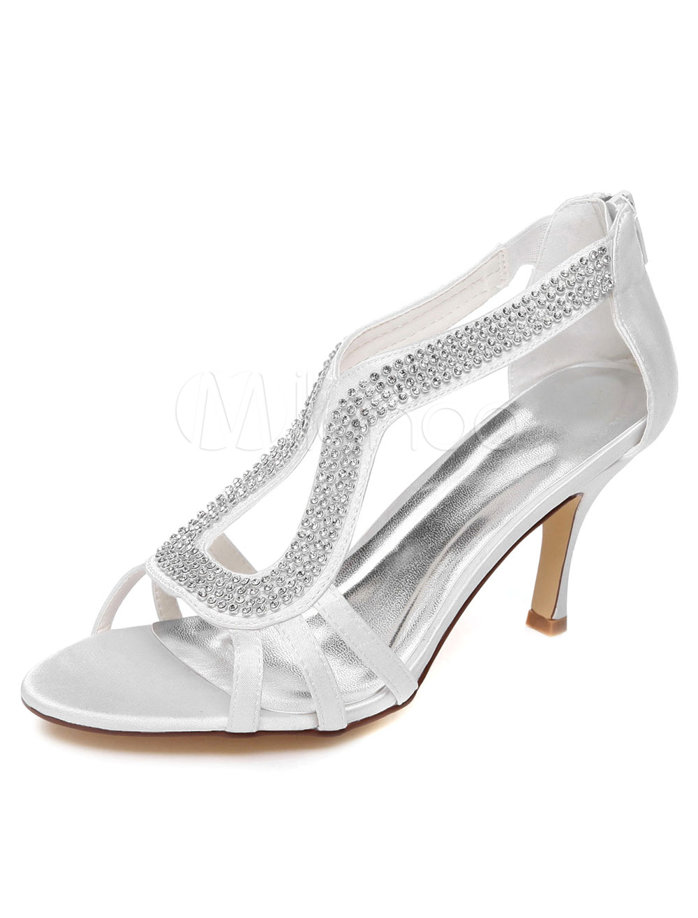 White Rhinestones Satin Open Toe Evening&Bridal Sandals