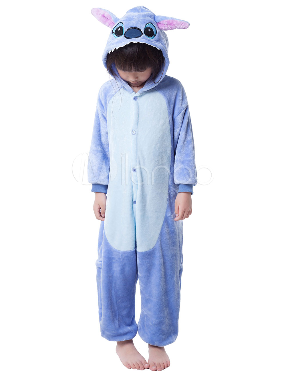 Buy Kigurumi Pajama Stitch Onesie For Kids Blue Synthetic Jumpsuit Christmas Mascot Costume Halloween for $18.89 in Milanoo store