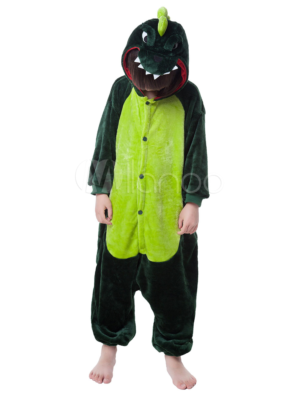 Kigurumi Pajama Dinosaur Onesie For Kids Dinosaur Synthetic Jumpsuit Mascot Costume Halloween