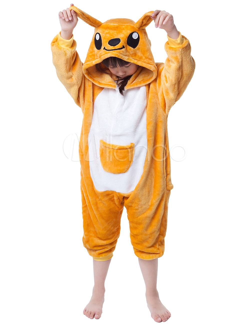 Buy Kigurumi Pajama Kangaroo Onesie For Kids Yellow Synthetic Jumpsuit Mascot Costume Halloween for $18.26 in Milanoo store