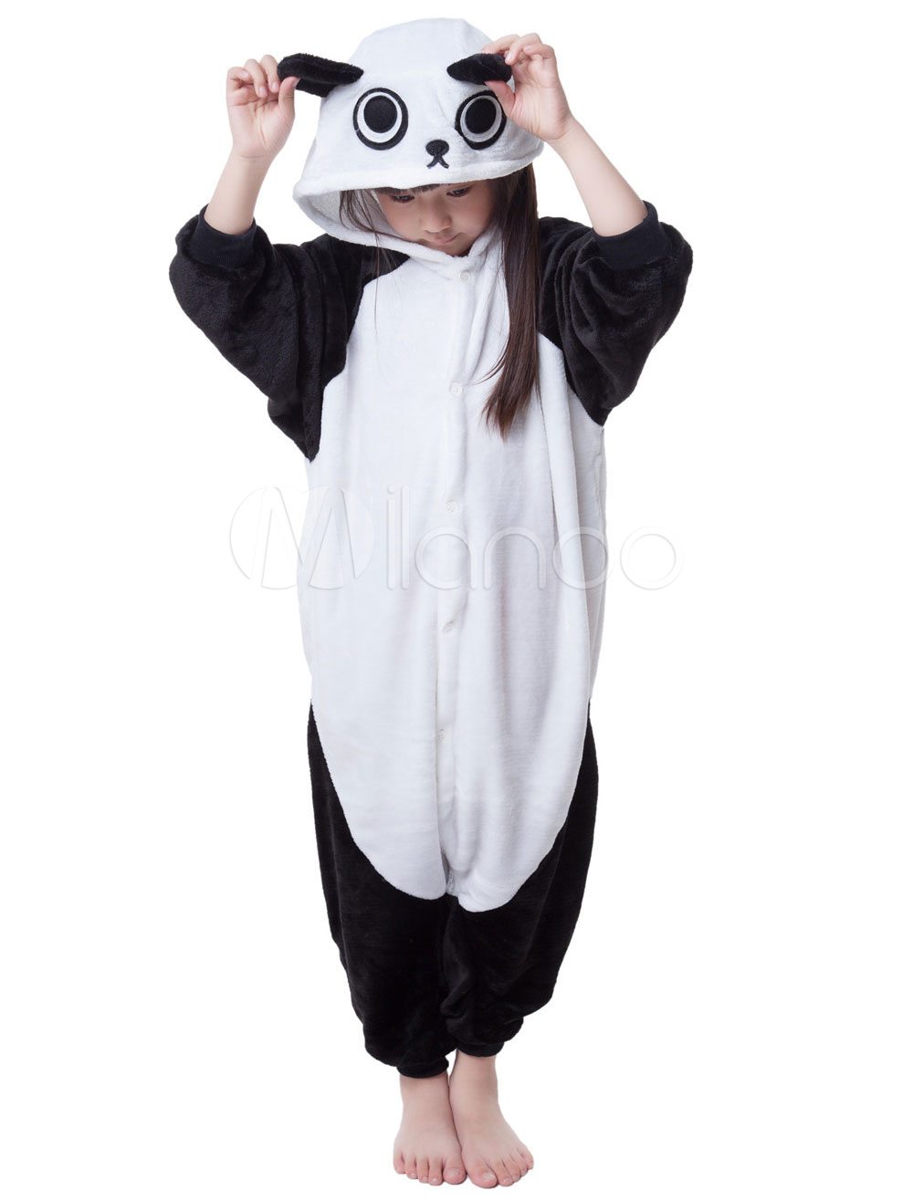 Buy Kigurumi Pajama Panda Onesie For Kids Black Synthetic Jumpsuit Mascot Costume Halloween for $16.79 in Milanoo store