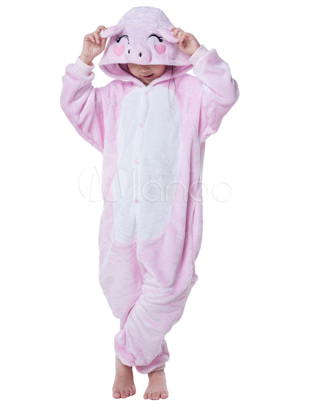 Buy Kigurumi Pajama Pig Onesie For Kids Pink Synthetic Jumpsuit Mascot Costume Halloween for $18.89 in Milanoo store