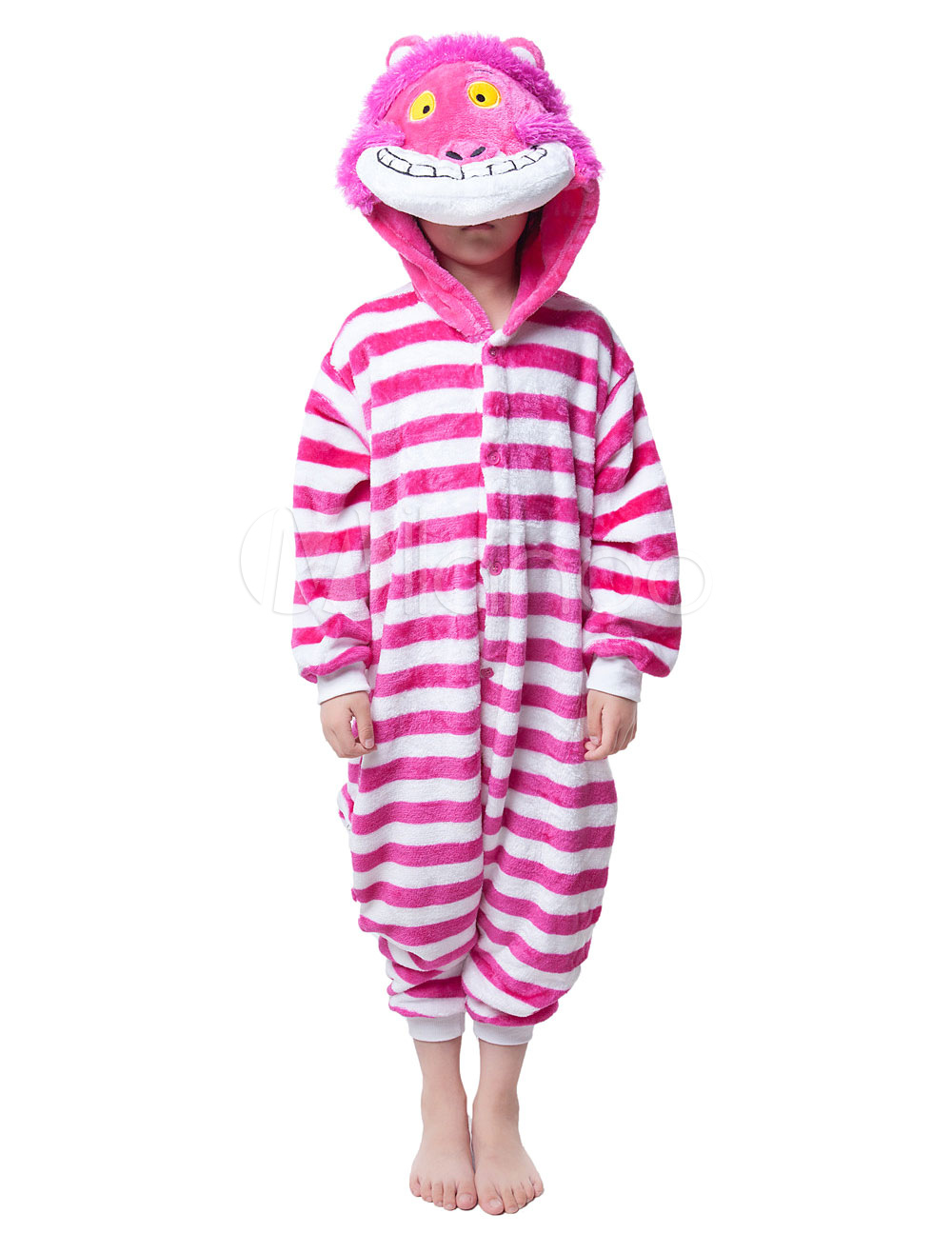 Buy Kigurumi Pajama Cheshire Cat Onesie For Kids Rose Red Synthetic Jumpsuit Christmas Mascot Costume Halloween for $18.89 in Milanoo store
