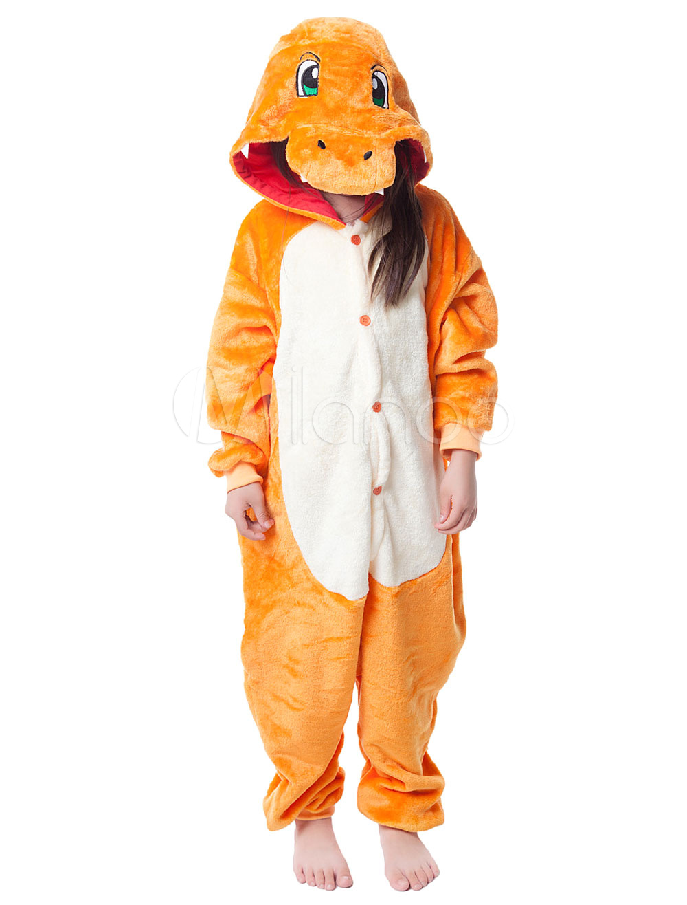 Buy Kigurumi Pajama Dinosaur Onesie For Kids Orange Synthetic Jumpsuit Mascot Costume Halloween for $18.89 in Milanoo store