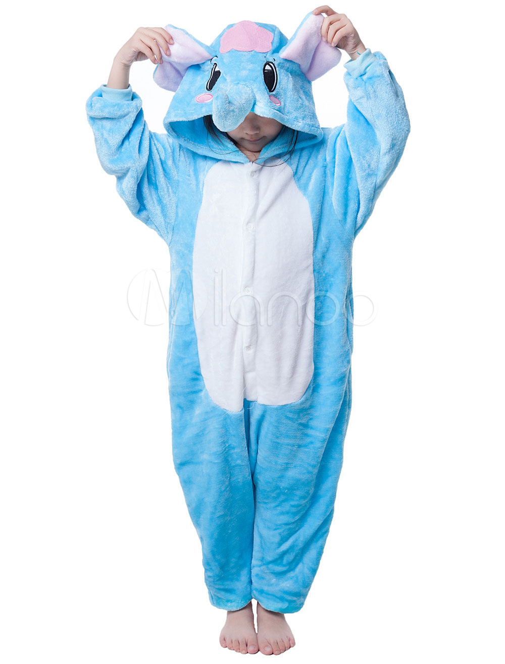 Buy Kigurumi Pajama Elephant Onesie For Kids Blue Synthetic Jumpsuit Mascot Costume Halloween for $18.26 in Milanoo store