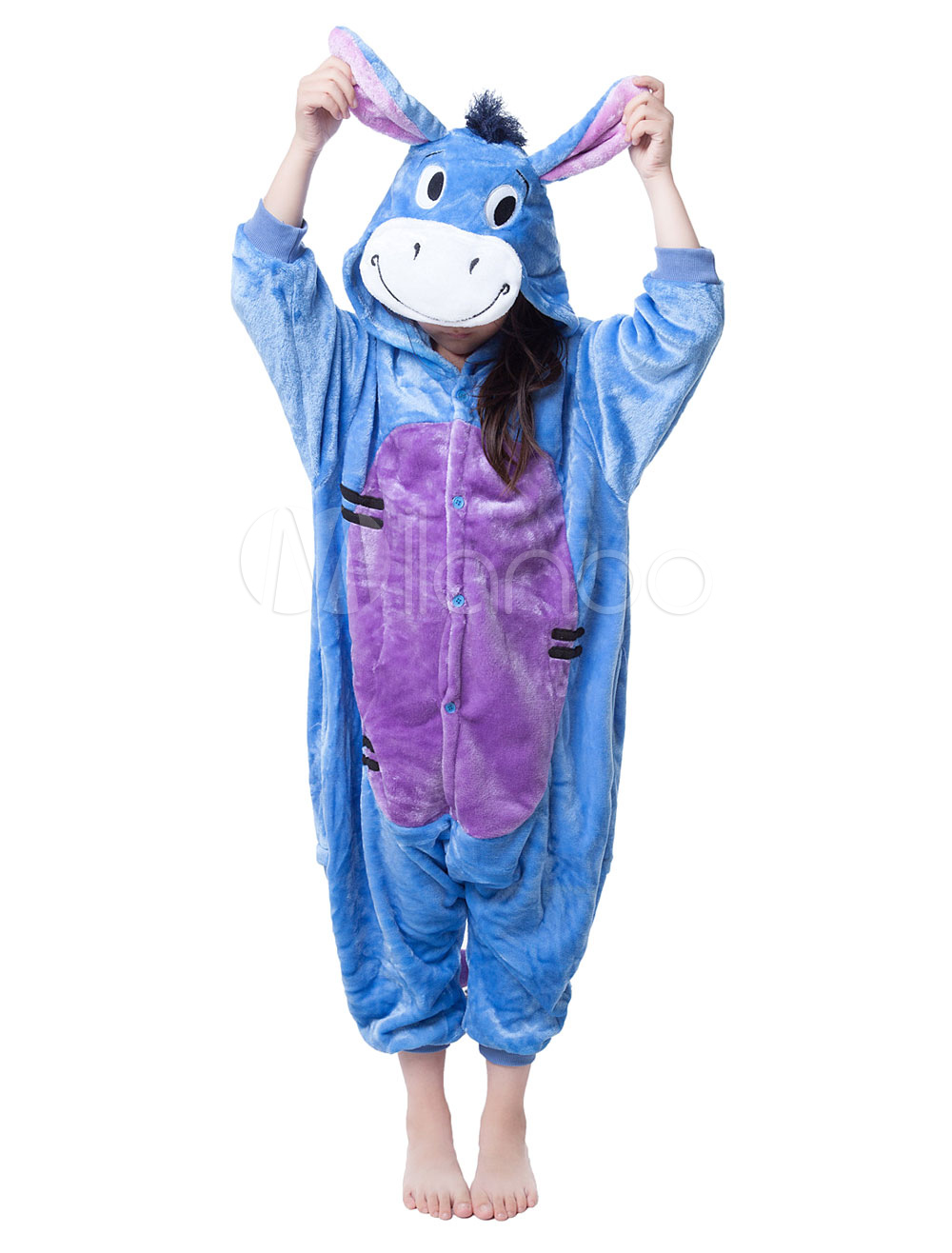 Buy Kigurumi Pajama Donkey Onesie For Kids Multicolor Synthetic Animal Jumpsuit Mascot Costume Halloween for $18.89 in Milanoo store