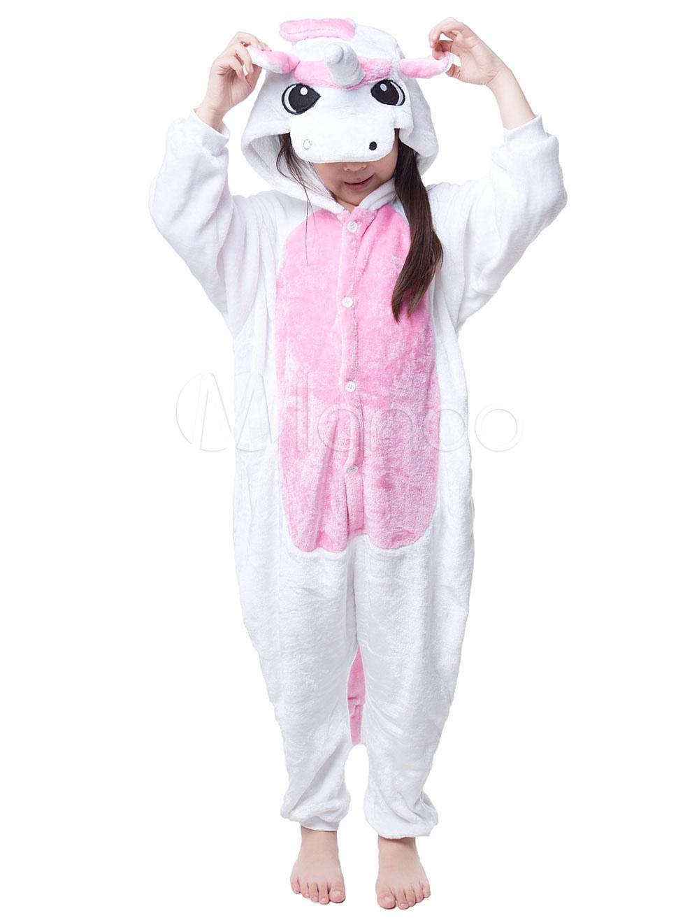 Buy Kigurumi Pajama Licorne Unicorn Onesie For Kids Pink Synthetic Jumpsuit Mascot Costume Halloween for $16.79 in Milanoo store