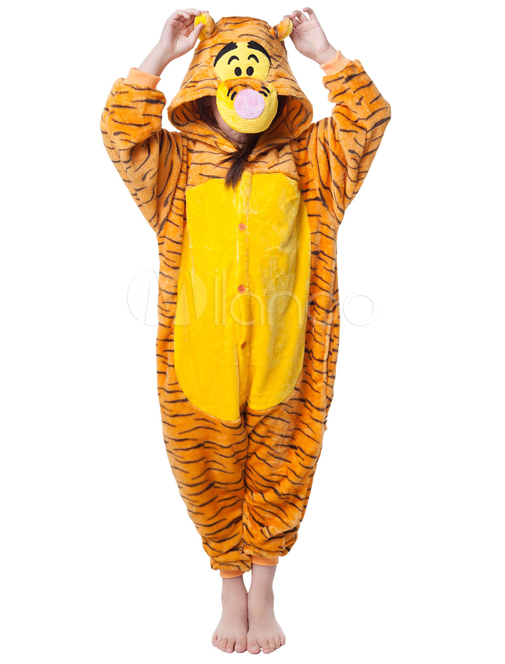 Buy Kigurumi Pajama Tiger Onesie Yelllow Synthetic For Kids Jumpsuit Mascot Costume Halloween for $18.26 in Milanoo store