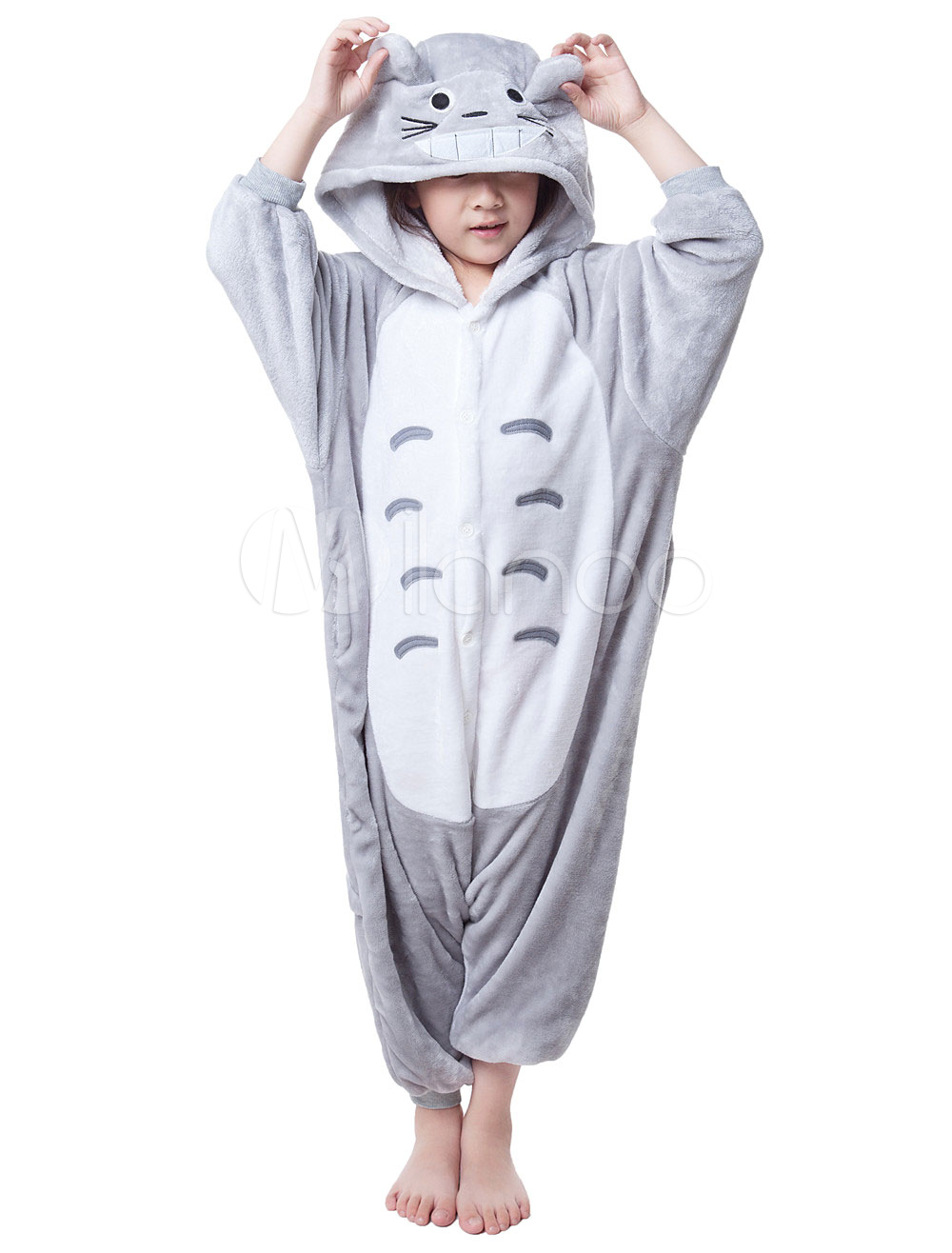 Buy Kigurumi Pajama Cat Onesie For Kids Gray Synthetic Jumpsuit Mascot Costume Halloween for $18.26 in Milanoo store