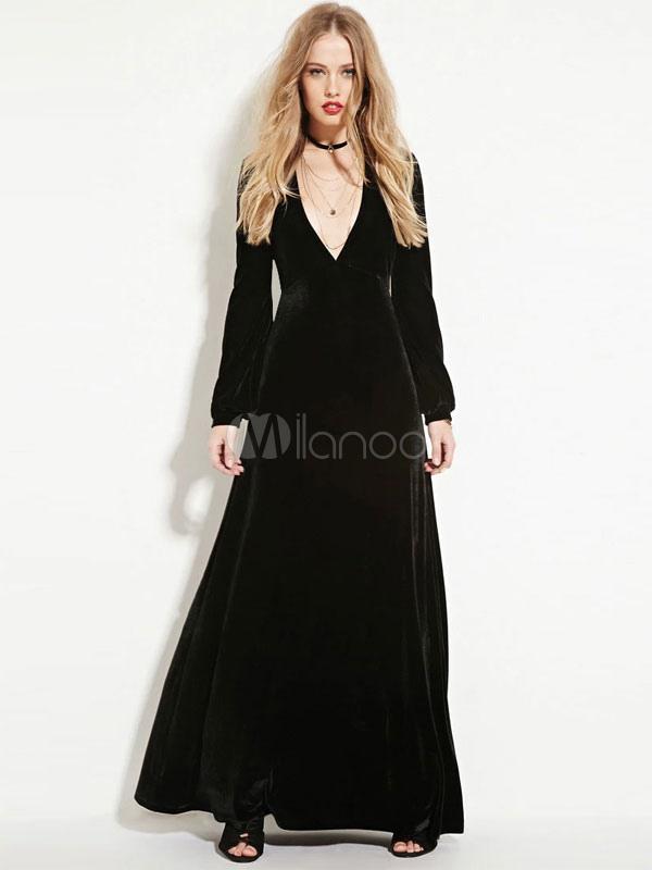 Black Deep-V Polyester Maxi Dress for Women