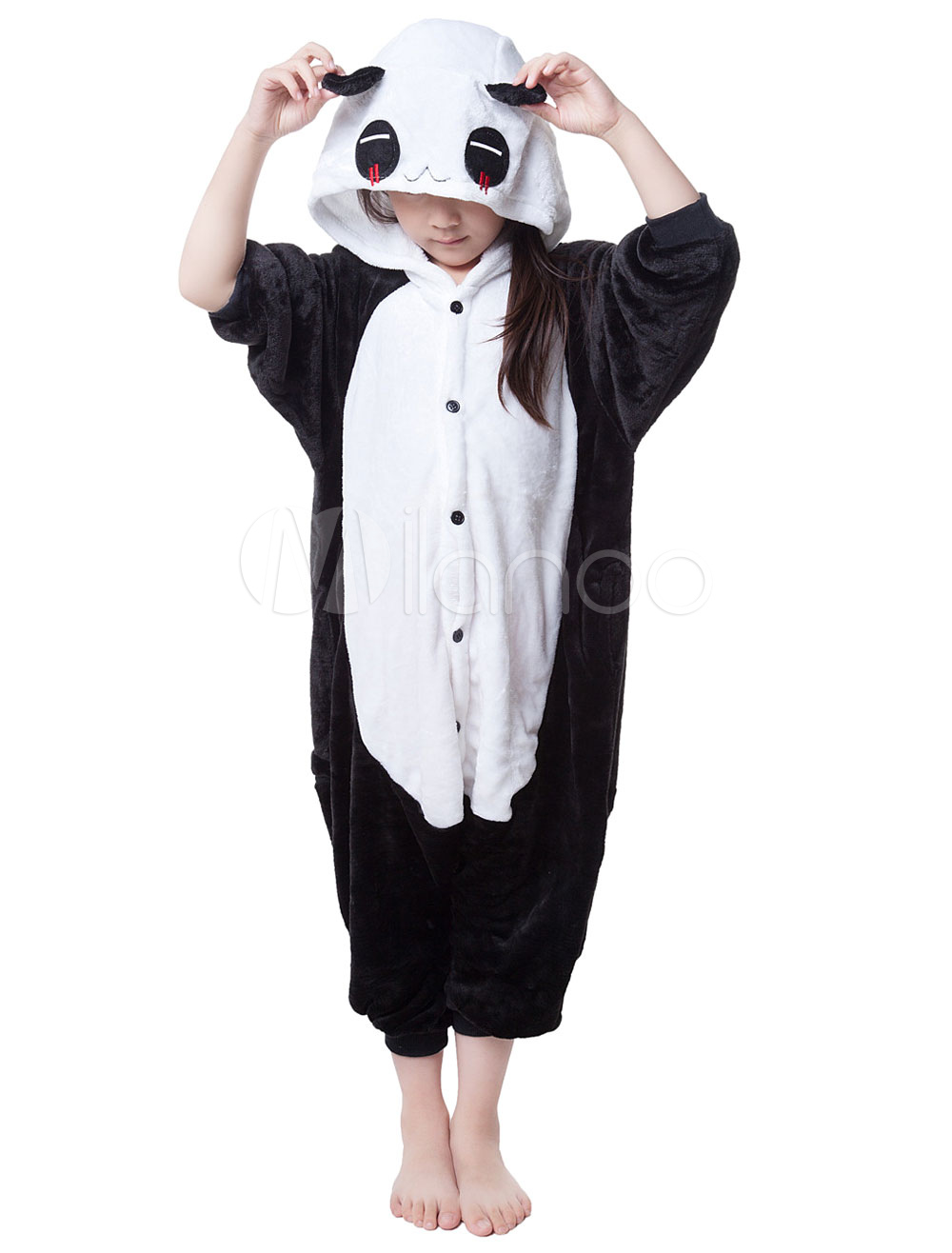 Buy Kigurumi Pajama Panda Onesie For Kids Black&White Synthetic Jumpsuit Christmas Mascot Costume Halloween for $18.89 in Milanoo store