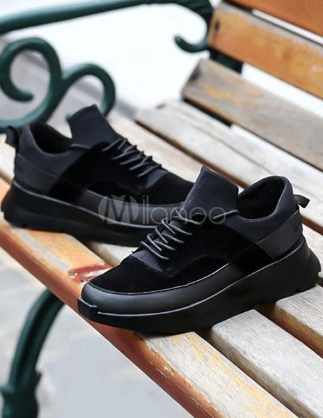 Piel sintética negro gasa elevador zapatos para hombres foY6hGli9
