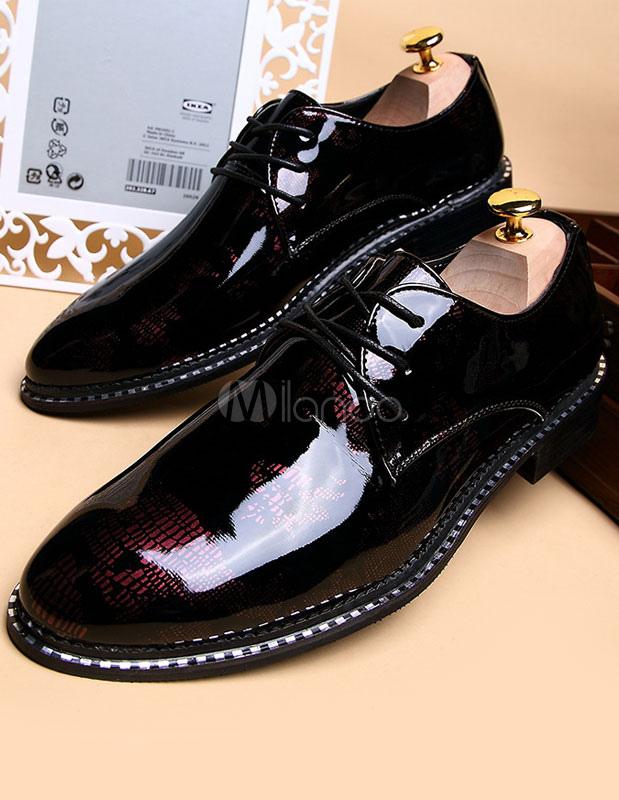 Black señaló Toe ATA para arriba los zapatos de vestir de PU para los hombres IdSjhE9