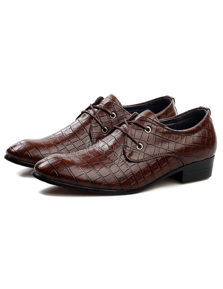 Buy Tan Lace Up Snake Print PU Elevator Shoes for Men for $53.99 in Milanoo store