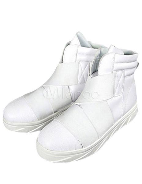 Blanco señaló Toe PU textil botas para hombres k5thzeiC7i