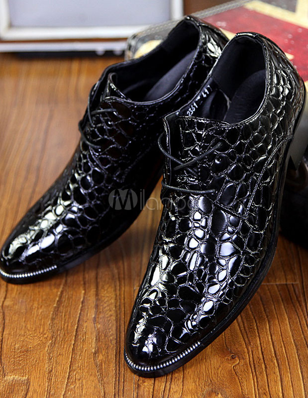 Black Pointed Toe Snake Print PU Elevator Shoes for Men