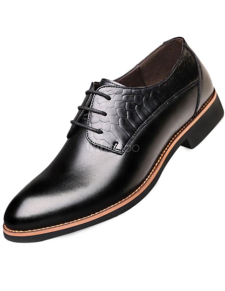 Black señaló Toe ATA para arriba los zapatos de vestir de PU para los hombres 2NCAmlGI