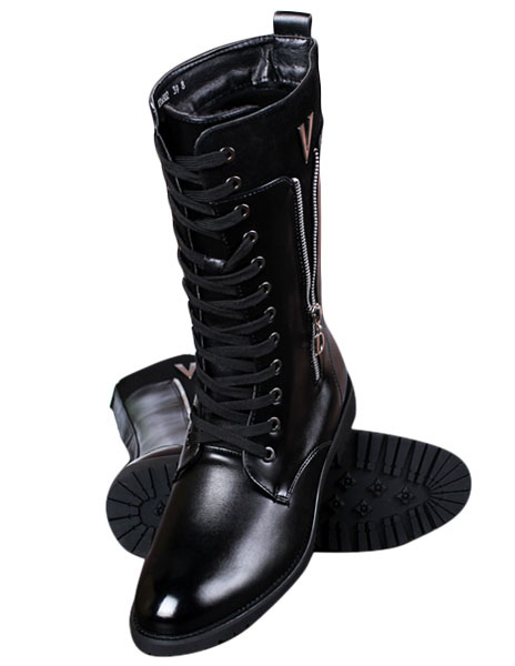 Black Pointed Toe Lace Up PU Boots for Men