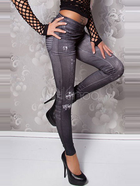 Gray Print Skinny Elastic Waist Polyester Leggings for Women Cheap clothes, free shipping worldwide