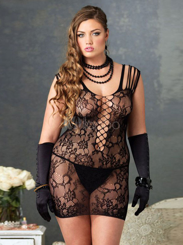 Black Cut-Out Lace Semi-Sheer Polyester Chemise for Women