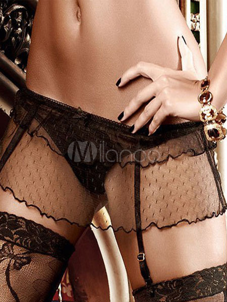 Black Semi-Sheer Lace Polyester Garter Belts for Women Cheap clothes, free shipping worldwide