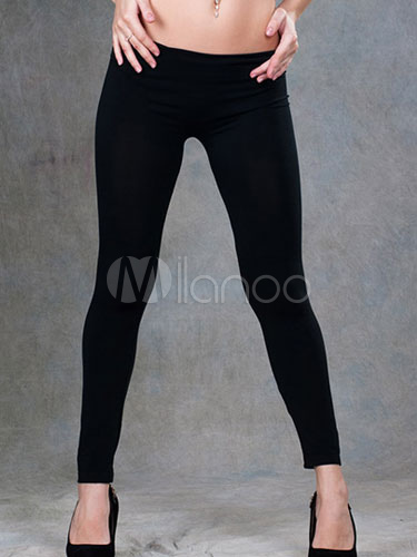 Cozy Black Polyester Leggings For Women Cheap clothes, free shipping worldwide