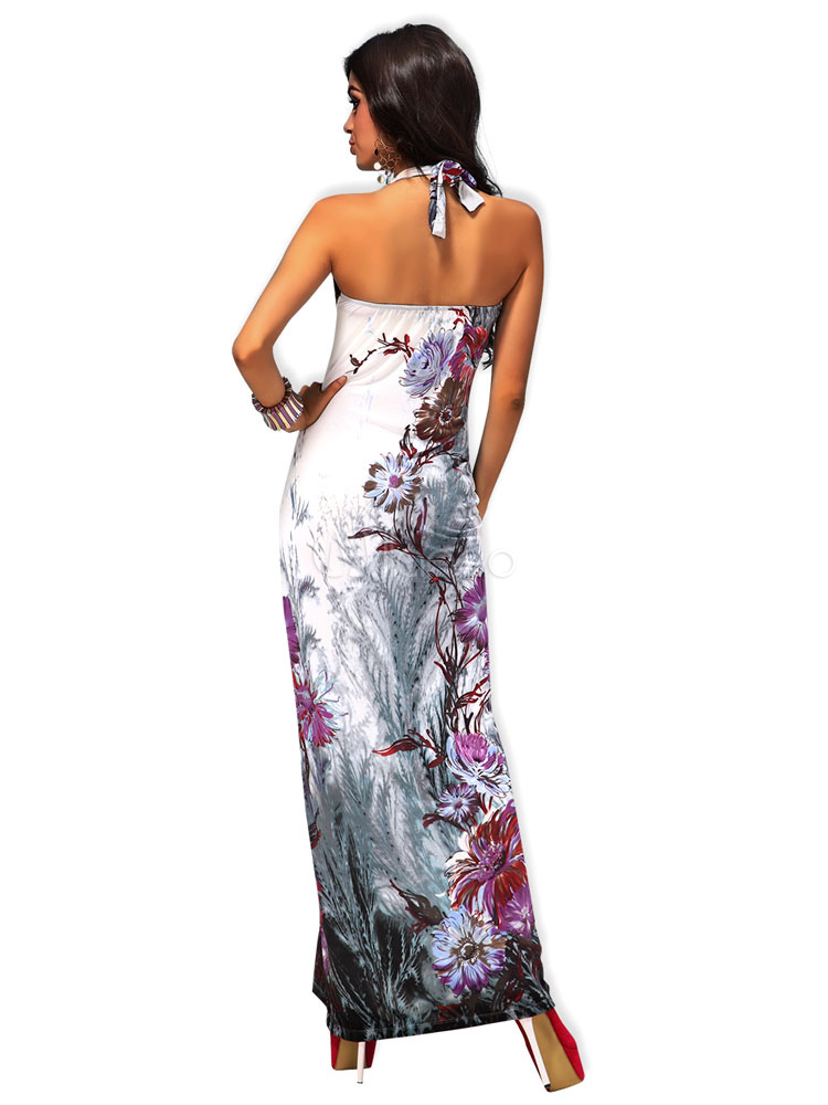 robe longue gris unicolore avec noeud col v. Black Bedroom Furniture Sets. Home Design Ideas