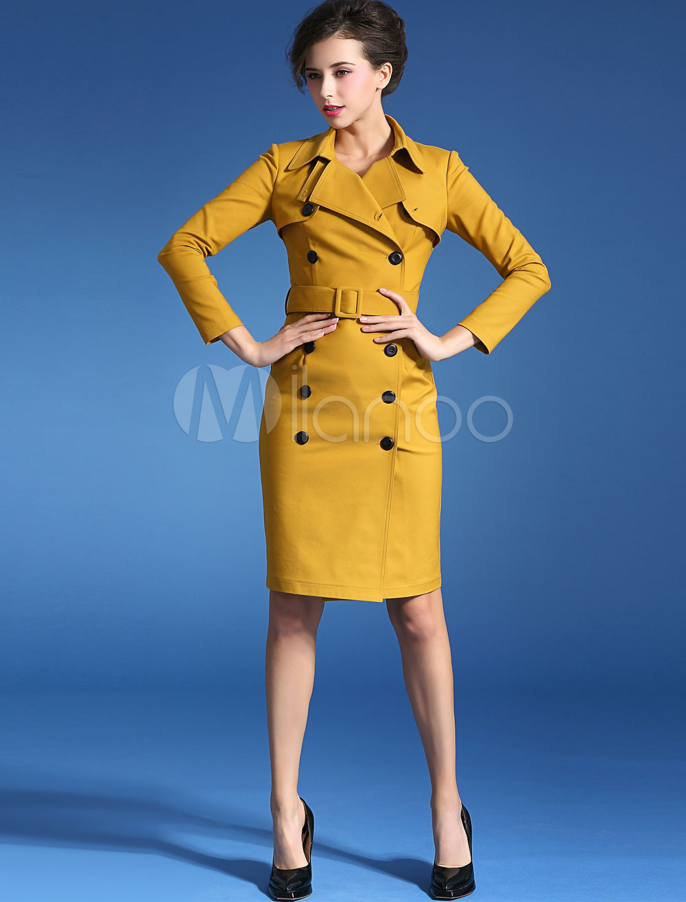Yellow Double-Breasted Brocade Party Dress for Women Cheap clothes, free shipping worldwide