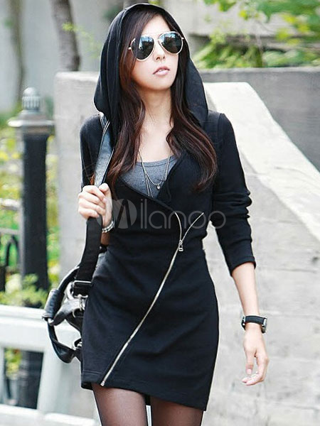 Black Zipper Cotton Mini Dress for Women