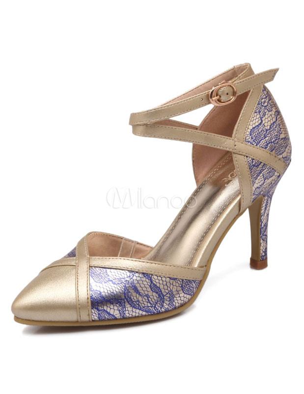 Imprimir dos tonos PU señaló Toe zapatos de tacón alto para las mujeres pvOpNT