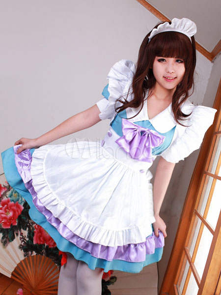 Halloween Multicolor Bows Ruffled Polyester French Maidservant Costume For Women Halloween