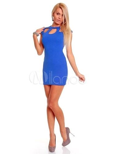Blue Cut-Out Milk Silk Sexy Club Dress for Women