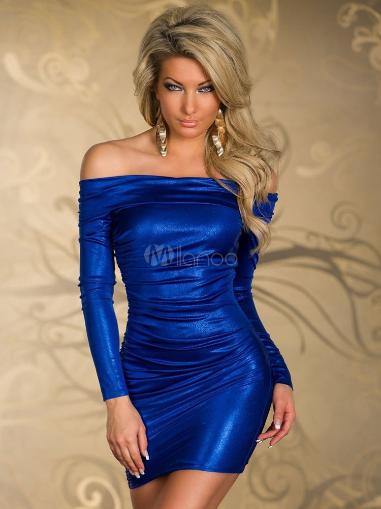 Blue Off-the-Shoulder Bodycon Club Dress for Women Cheap clothes, free shipping worldwide
