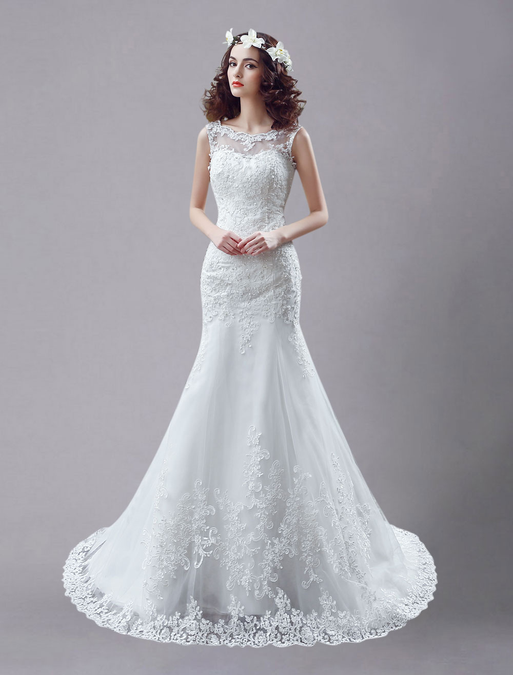 White Wedding Dress Lace Backless Bridal Dresses Rhinestones Beaded Mermaid Wedding Gown