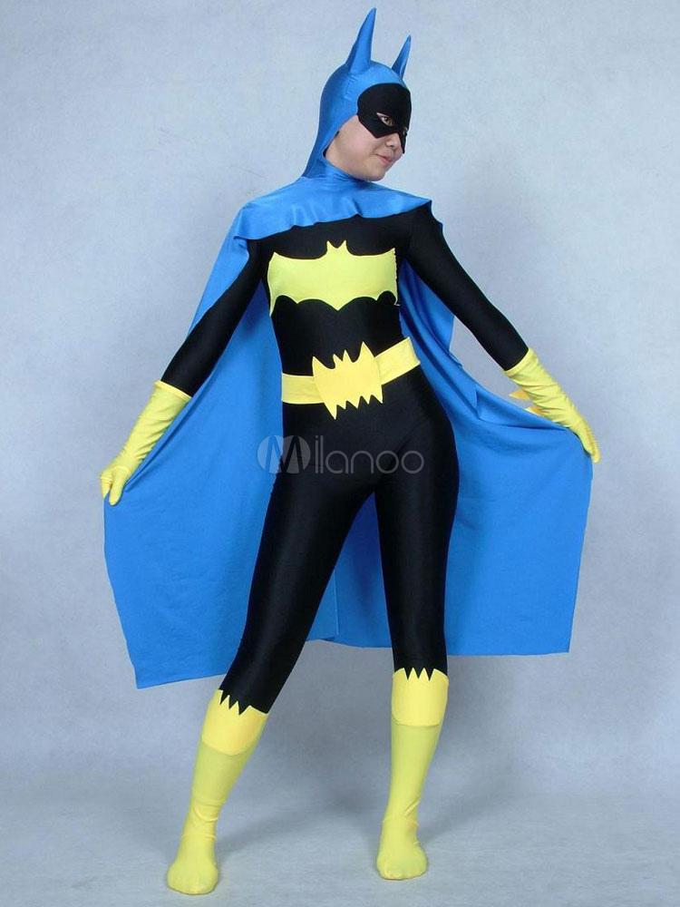 Halloween Unisex Color Block Batman Costume Cosplay Lycra Spandex Zentai Suit Morphsuits Halloween