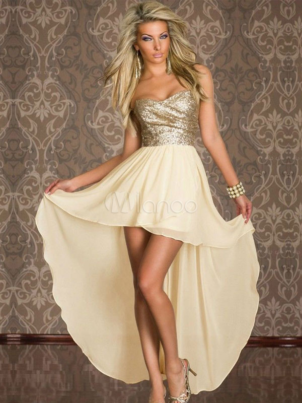 Color Block Strapless Ruffled High-Low Chiffon Club Dress for Women