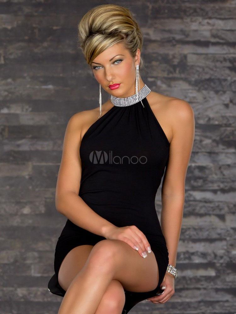 2a32975f84c ... Blue Club Dress 2019 Cold Shoulder Sexy High Collar Drape Back Milk  Silk Clubwear For Women ...