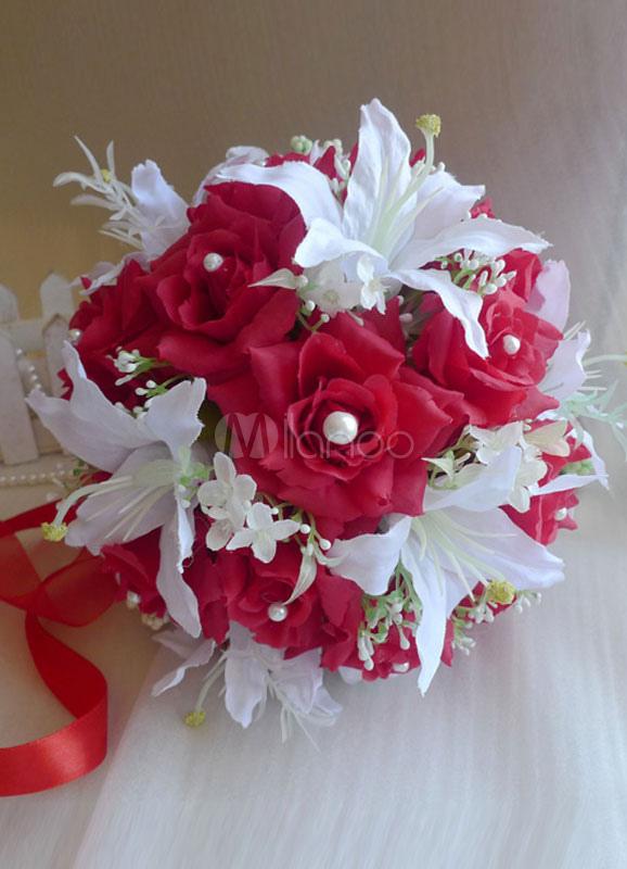Rot Weisse Perlen Bander Hochzeit Blumen Milanoo Com