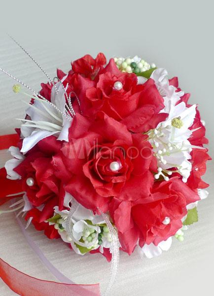 Rot Weisse Runde Form Perlen Bander Hochzeit Blumen Milanoo Com