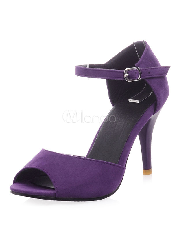 Purple Micro Suede Peep Toe Chic Dress Sandals for Women
