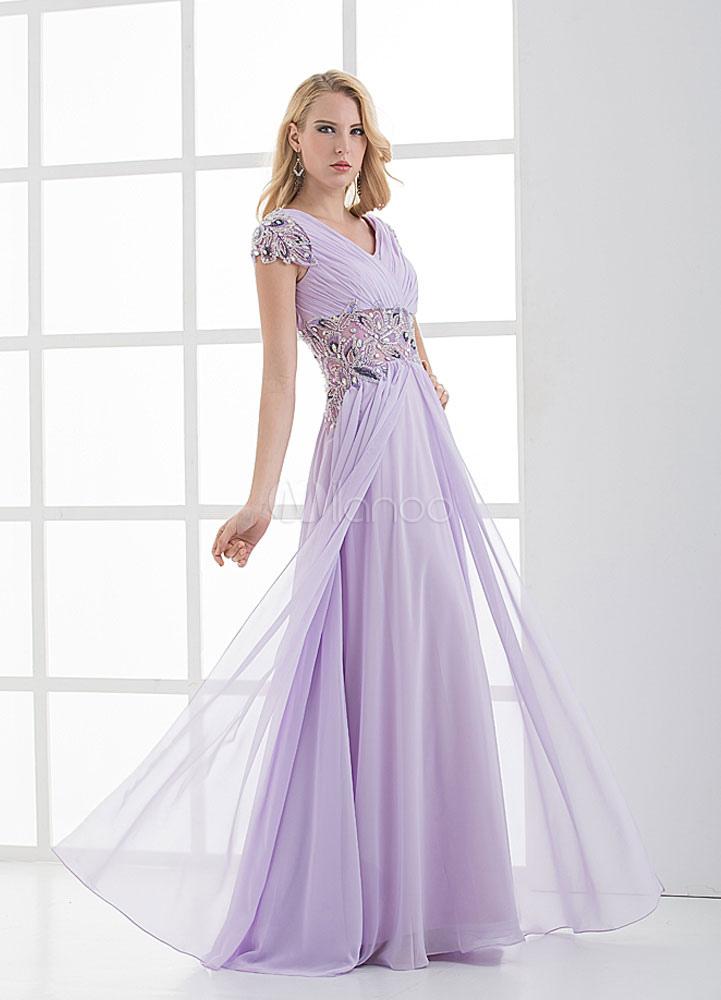 Lavendel Strass V-Rücken geraffte Chiffon Brautjungfer Kleid ...