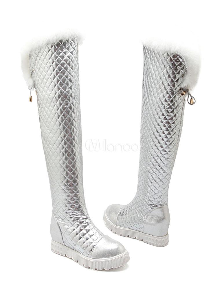 con pala de PU brillante de puntera redonda Botas altas mujer botas altas negras 6.5cm de tacón de cuña de piel Otoño Invierno slip on