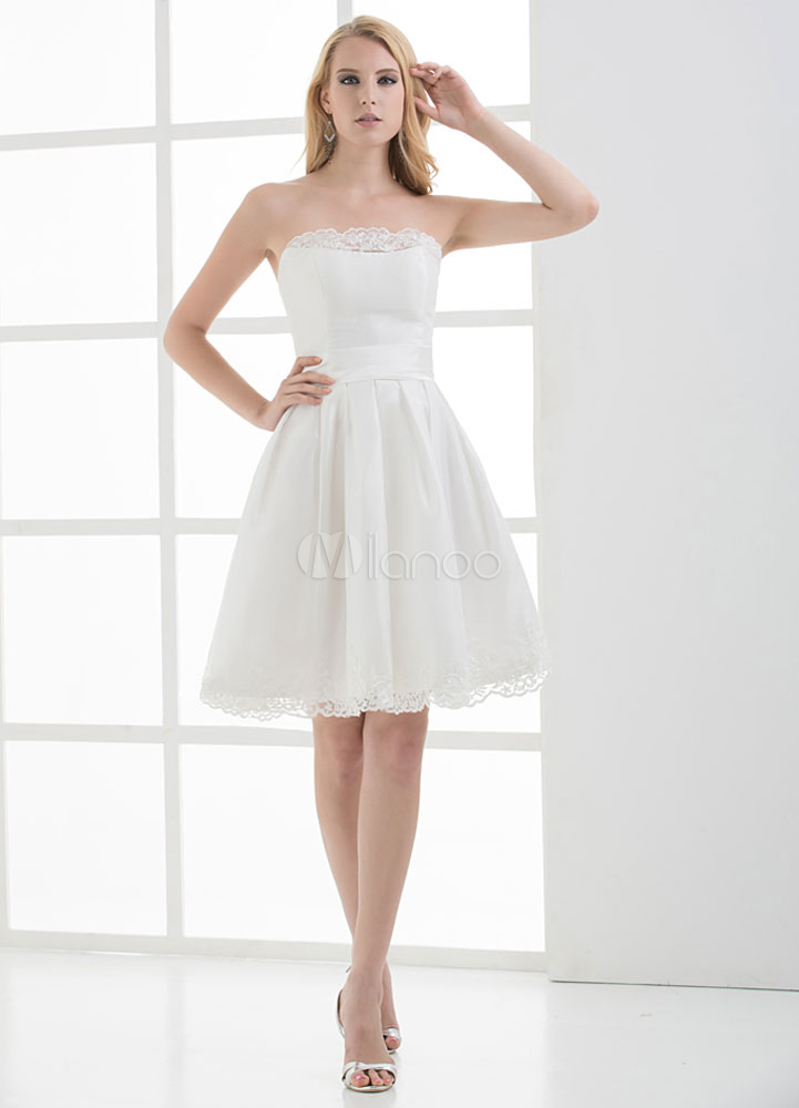 White Strapless A-Line Lace Up Satin Bridesmaid Dress