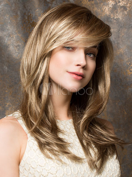 Flaxen Curly Chic Long Wig For Woman
