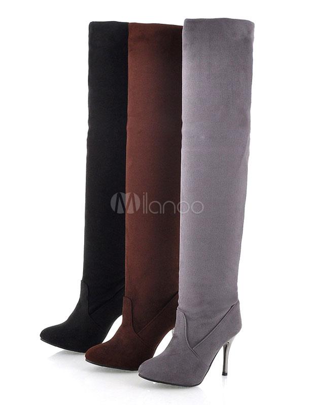 Sobre las botas de rodilla gris dedo del pie puntiagudo franela muslo botas altas ygFXgX